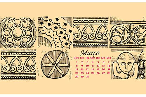 Março Wallpaper Calendário